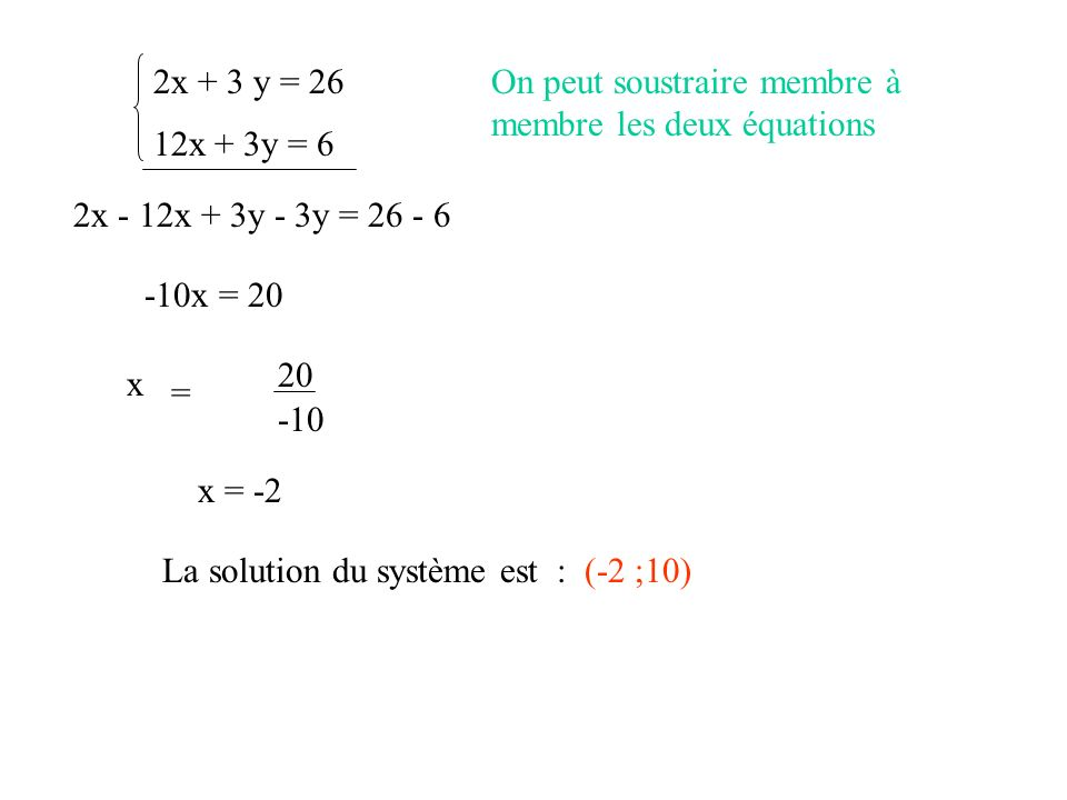 2x + 3 y = 26On peut soustraire membre à membre les deux équations. 12x + 3y = 6. 2x - 12x + 3y - 3y = 26 - 6.