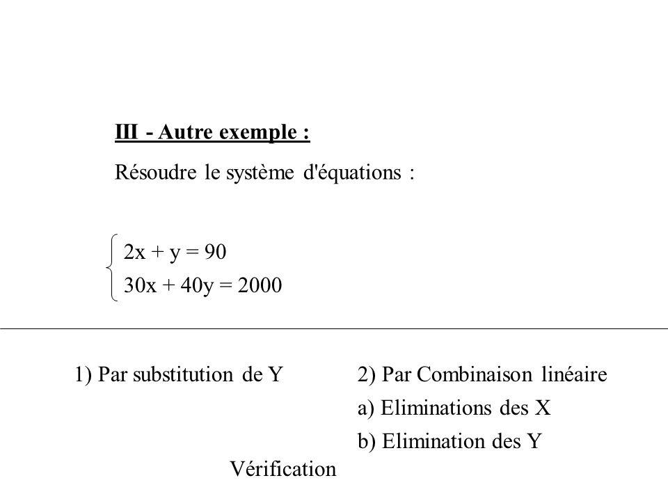 III - Autre exemple : Résoudre le système d équations : 2x + y = 90. 30x + 40y = 2000. 1) Par substitution de Y.