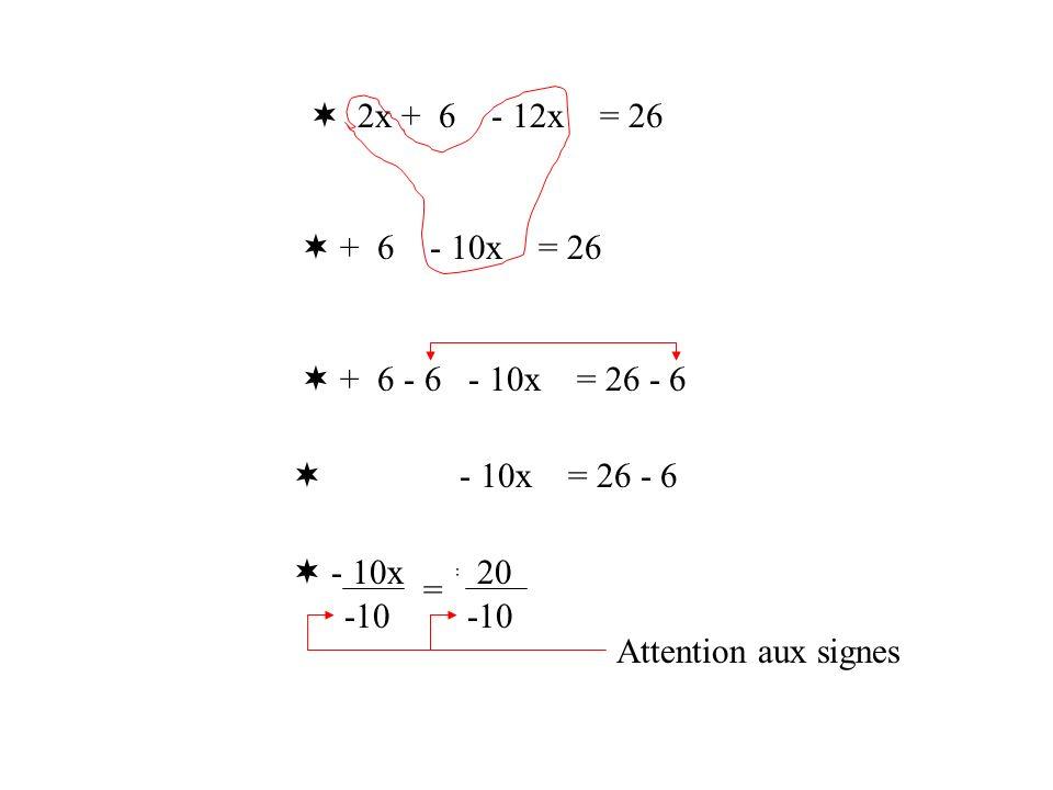  2x + 6 - 12x = 26 + 6 - 10x = 26.  + 6 - 6 - 10x = 26 - 6.  + 6 - 6 - 10x = 26 - 6.