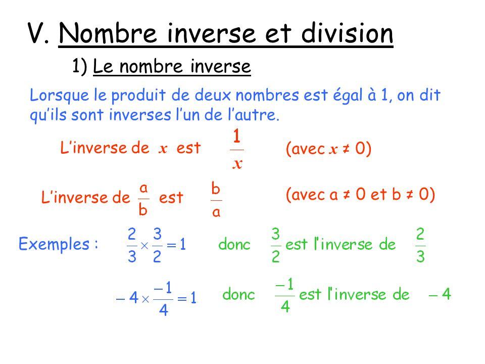 V. Nombre inverse et division