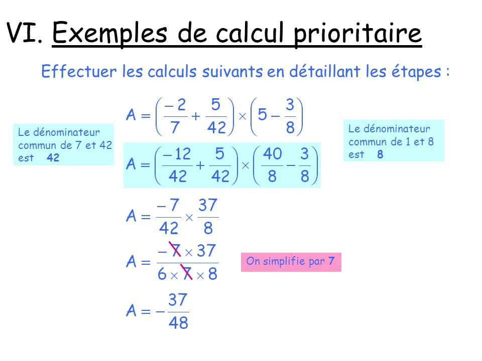 VI. Exemples de calcul prioritaire