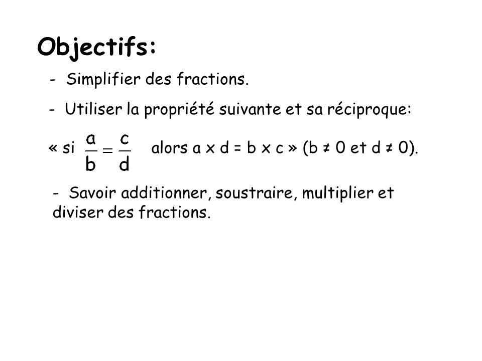 Objectifs: - Simplifier des fractions.