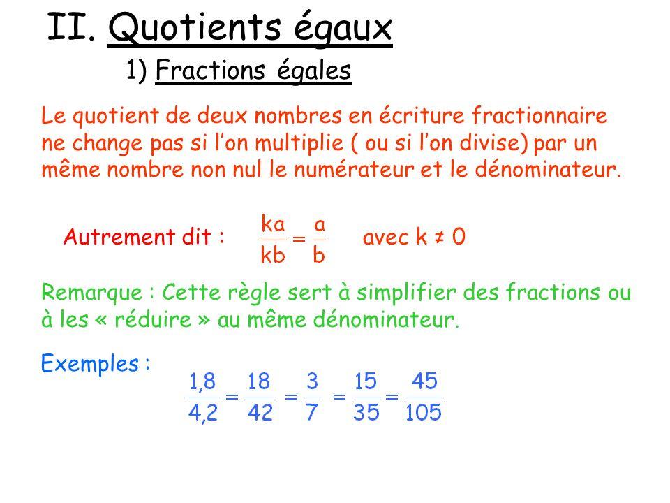 II. Quotients égaux 1) Fractions égales