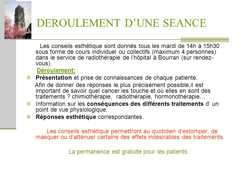 DEROULEMENT D'UNE SEANCE