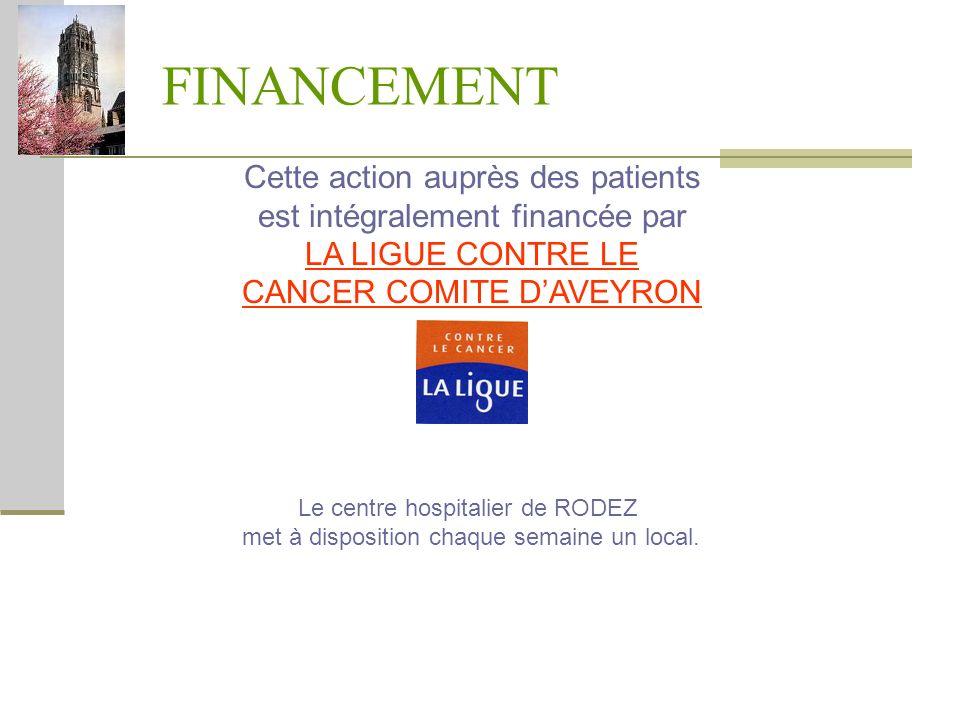 FINANCEMENTCette action auprès des patients est intégralement financée par LA LIGUE CONTRE LE CANCER COMITE D'AVEYRON.