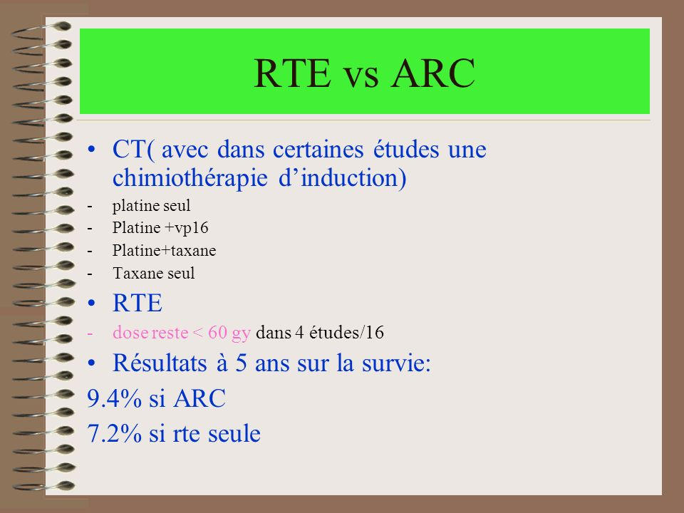 RTE vs ARC CT( avec dans certaines études une chimiothérapie d'induction) platine seul. Platine +vp16.