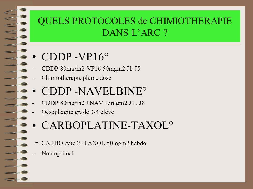 QUELS PROTOCOLES de CHIMIOTHERAPIE DANS L'ARC