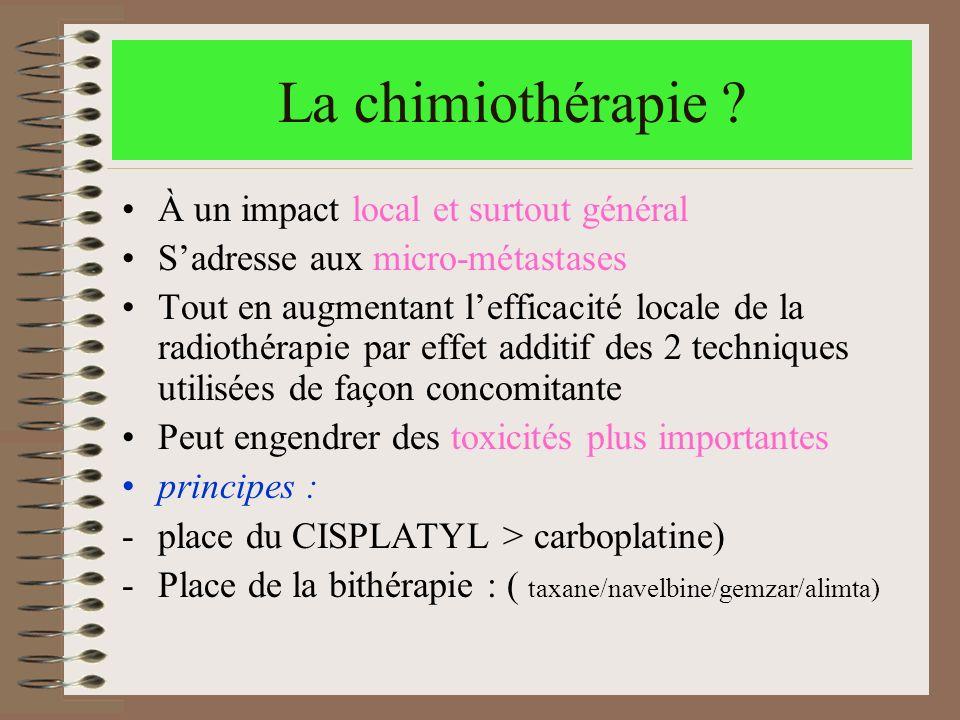 La chimiothérapie À un impact local et surtout général