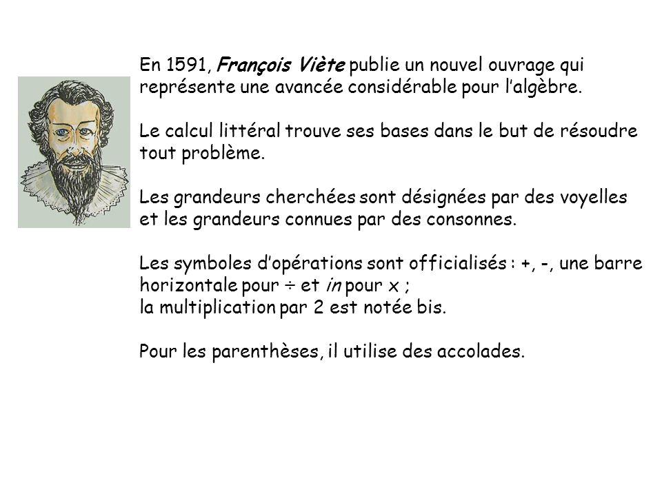 En 1591, François Viète publie un nouvel ouvrage qui
