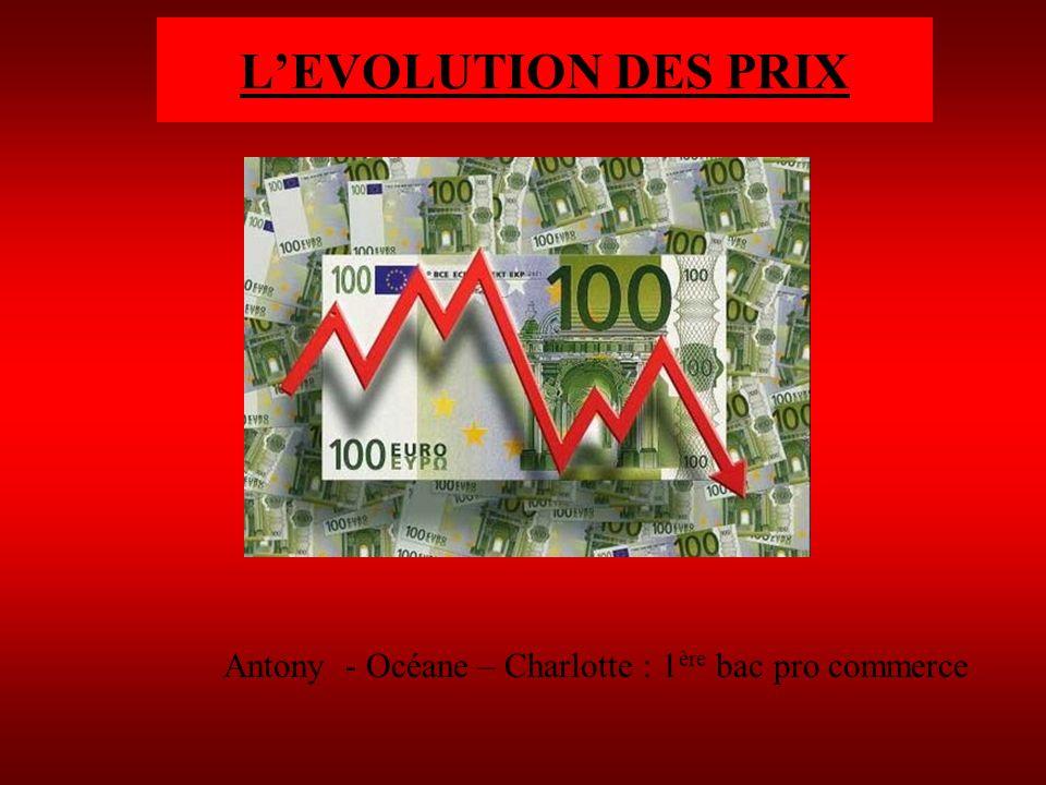 L'EVOLUTION DES PRIX Antony - Océane – Charlotte : 1ère bac pro commerce