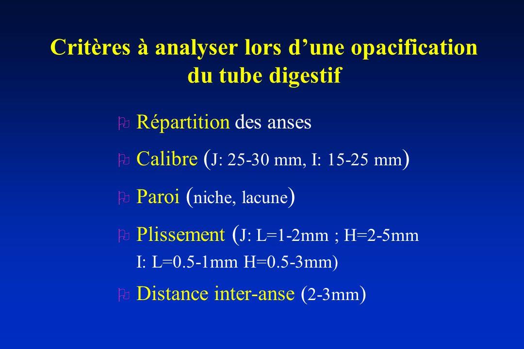Critères à analyser lors d'une opacification du tube digestif