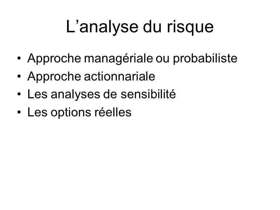 L'analyse du risque Approche managériale ou probabiliste