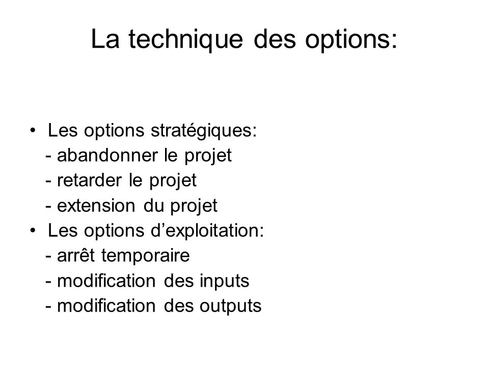 La technique des options: