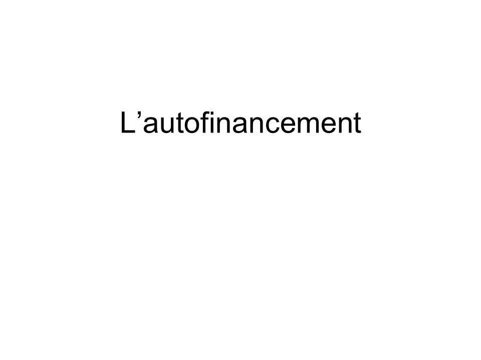 L'autofinancement