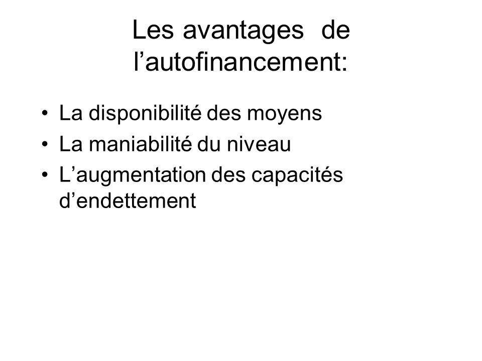 Les avantages de l'autofinancement: