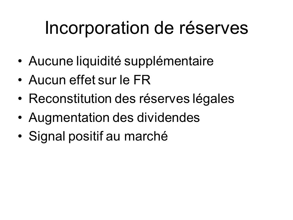 Incorporation de réserves