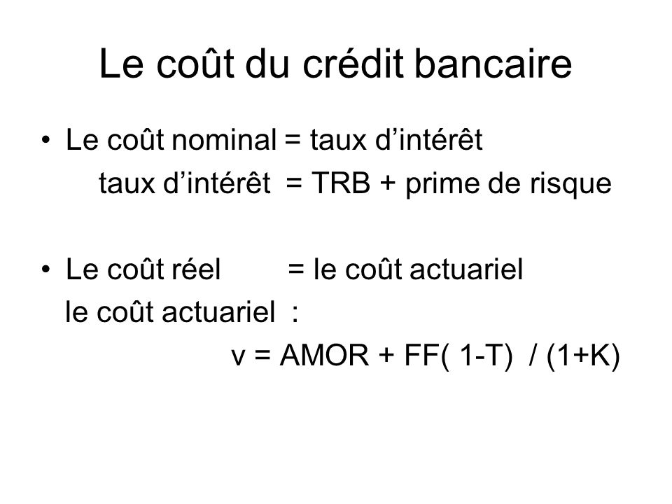 Le coût du crédit bancaire