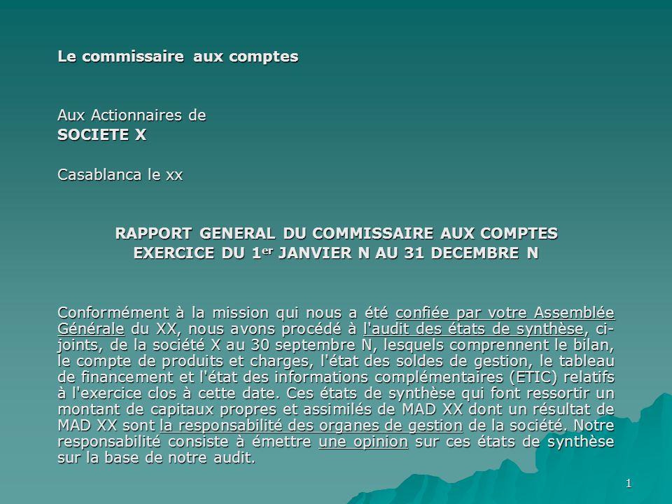 Le commissaire aux comptes Aux Actionnaires de SOCIETE X