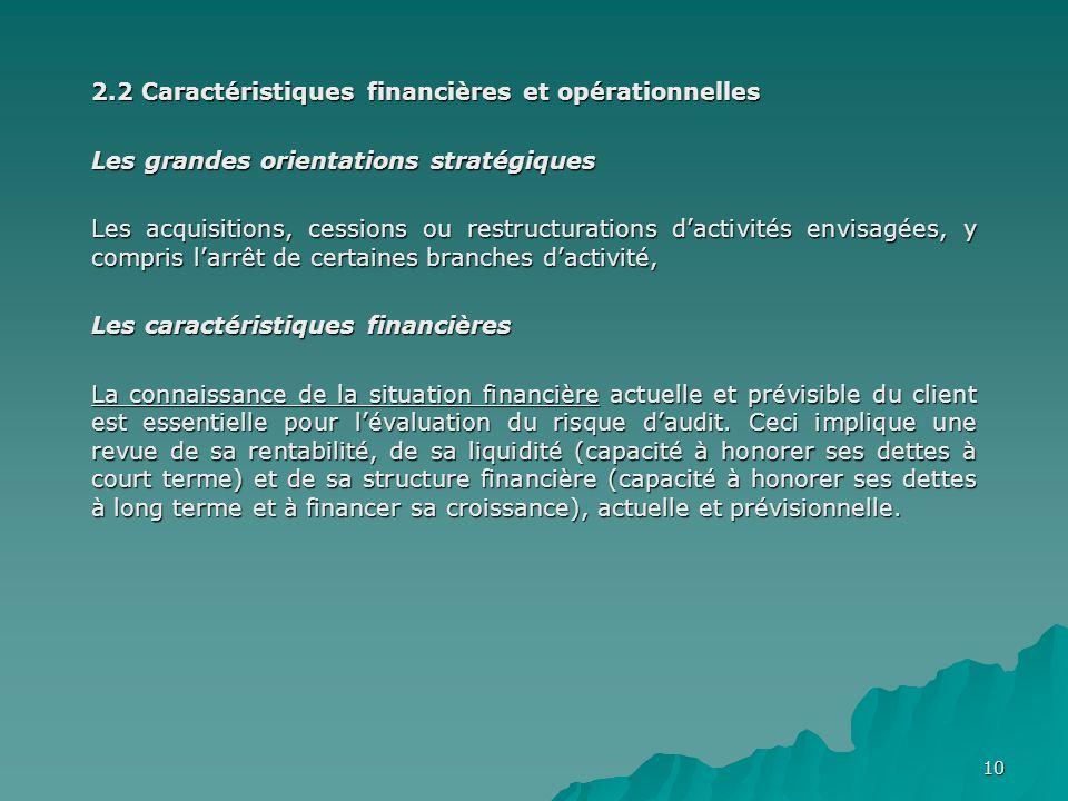 2.2 Caractéristiques financières et opérationnelles