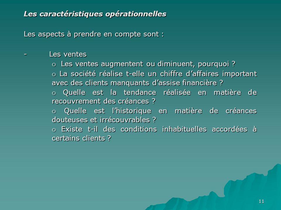 Les caractéristiques opérationnelles