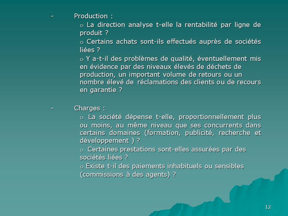 - Production : o La direction analyse t-elle la rentabilité par ligne de produit