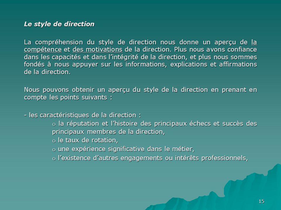 Le style de direction