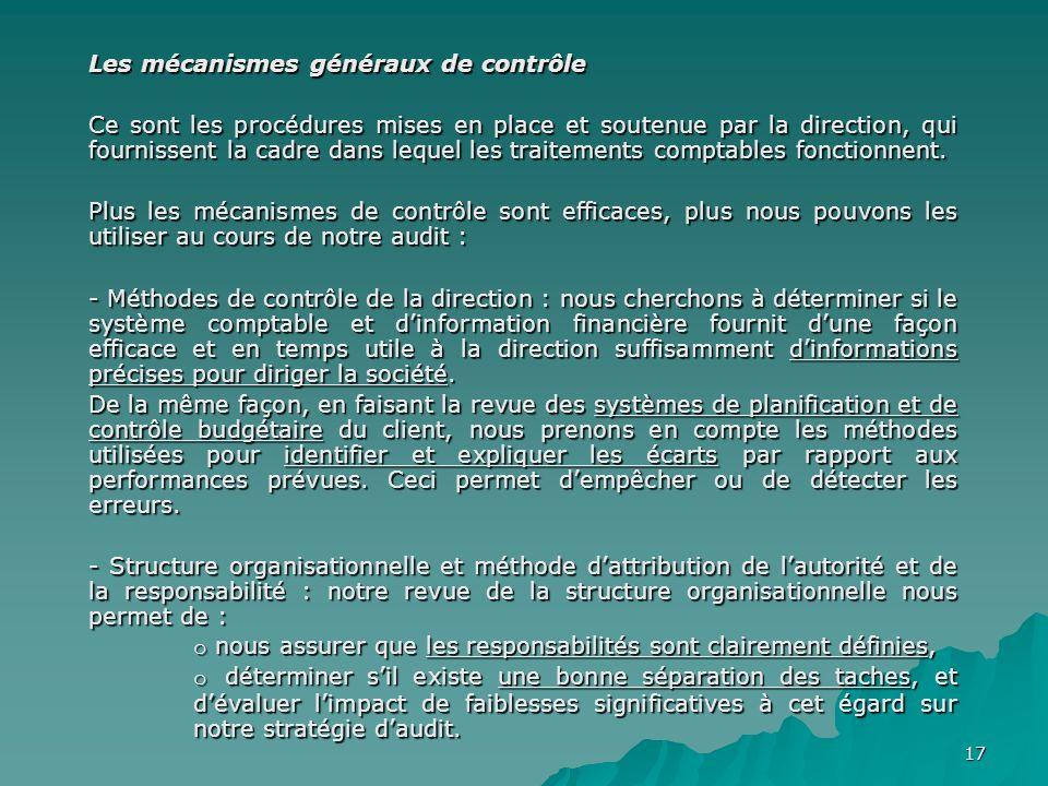 Les mécanismes généraux de contrôle