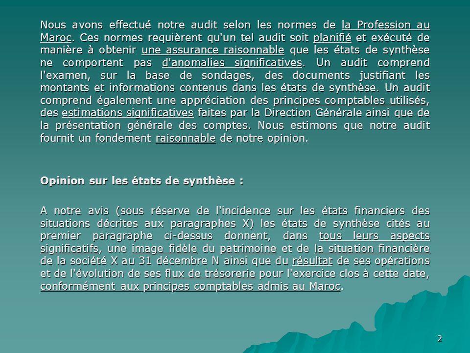 Nous avons effectué notre audit selon les normes de la Profession au Maroc. Ces normes requièrent qu un tel audit soit planifié et exécuté de manière à obtenir une assurance raisonnable que les états de synthèse ne comportent pas d anomalies significatives. Un audit comprend l examen, sur la base de sondages, des documents justifiant les montants et informations contenus dans les états de synthèse. Un audit comprend également une appréciation des principes comptables utilisés, des estimations significatives faites par la Direction Générale ainsi que de la présentation générale des comptes. Nous estimons que notre audit fournit un fondement raisonnable de notre opinion.