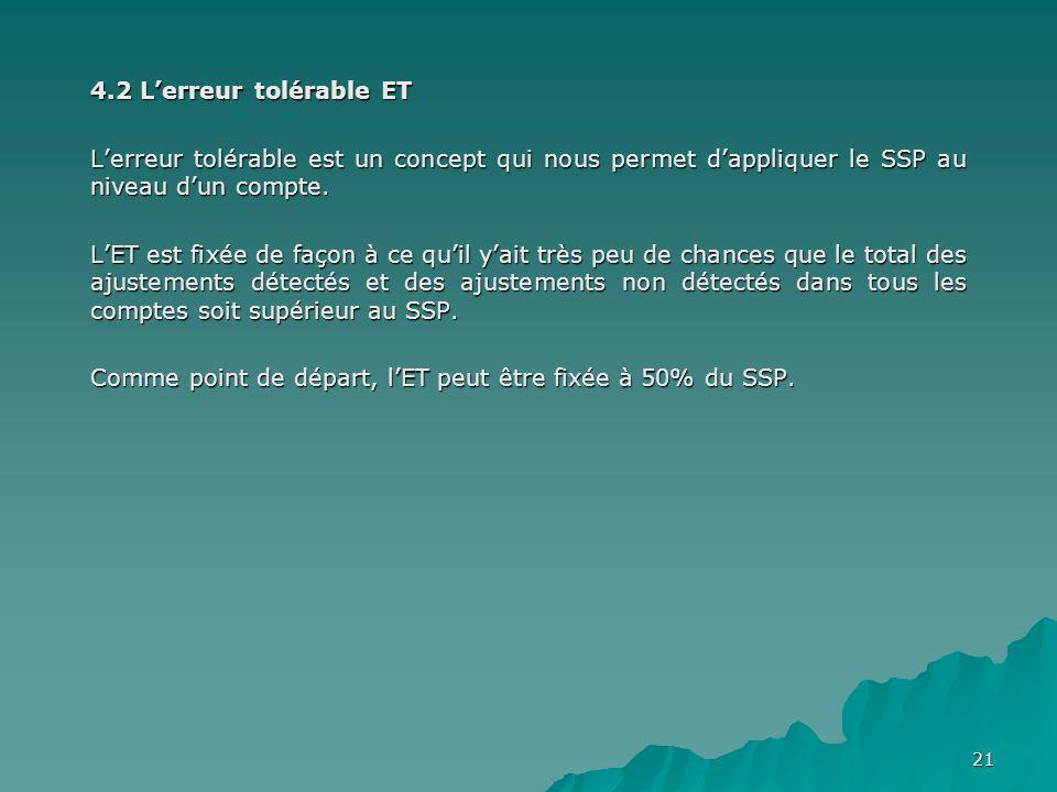 4.2 L'erreur tolérable ET L'erreur tolérable est un concept qui nous permet d'appliquer le SSP au niveau d'un compte.