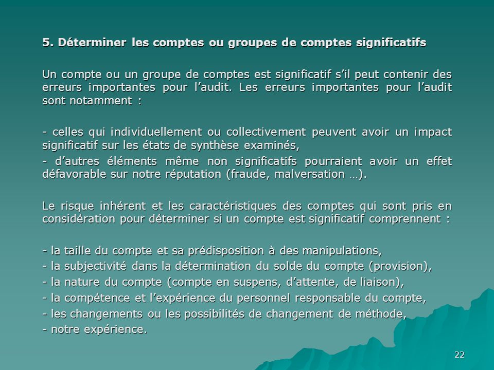 5. Déterminer les comptes ou groupes de comptes significatifs