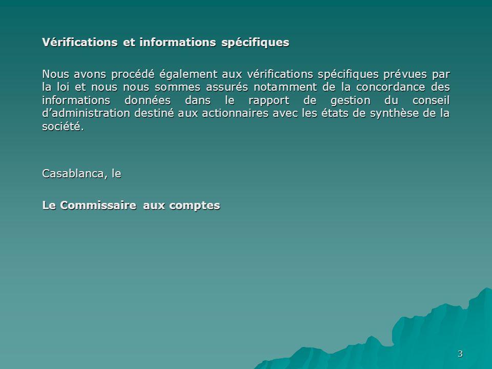 Vérifications et informations spécifiques
