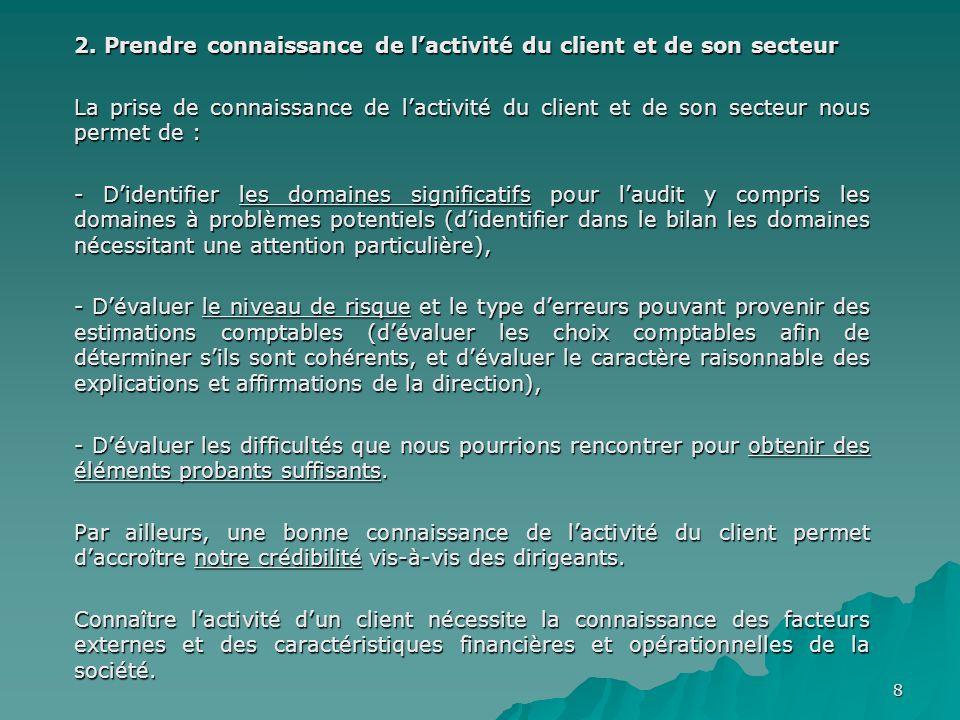 2. Prendre connaissance de l'activité du client et de son secteur