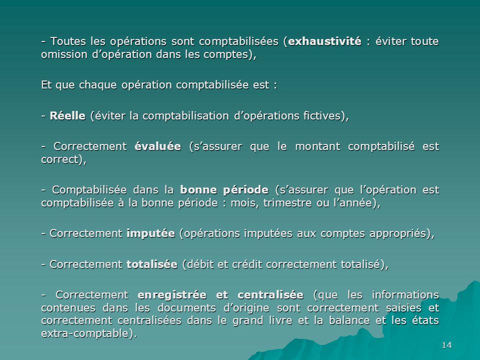 - Toutes les opérations sont comptabilisées (exhaustivité : éviter toute omission d'opération dans les comptes),