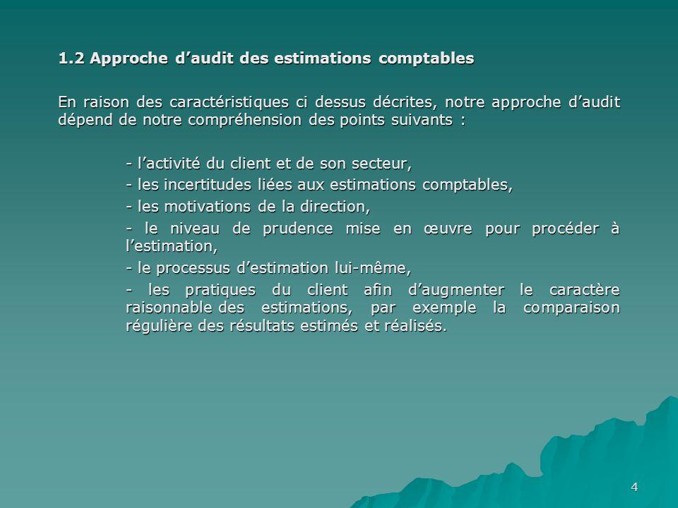 1.2 Approche d'audit des estimations comptables