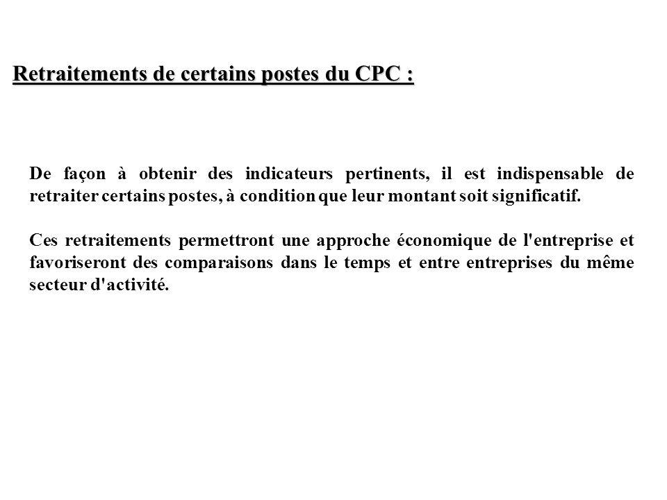 Retraitements de certains postes du CPC :