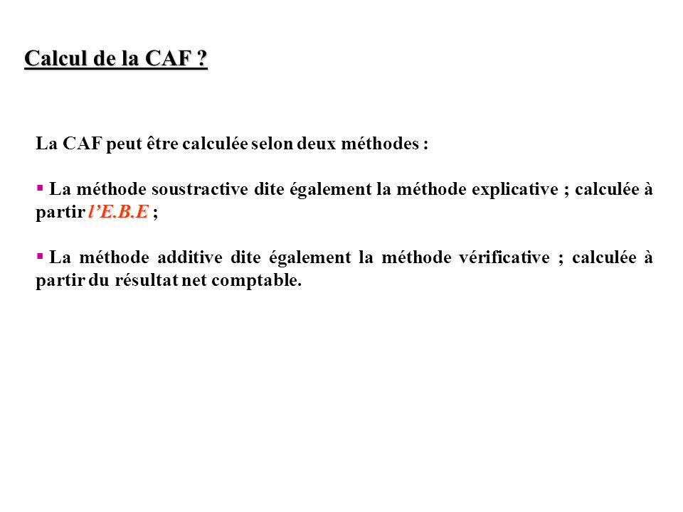 Calcul de la CAF La CAF peut être calculée selon deux méthodes :