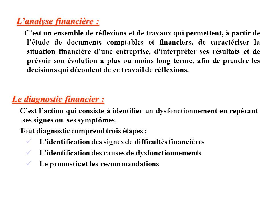 L'analyse financière :