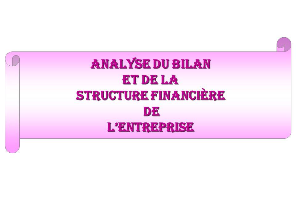 analyse du bilan et de la structure financière De L'entreprise