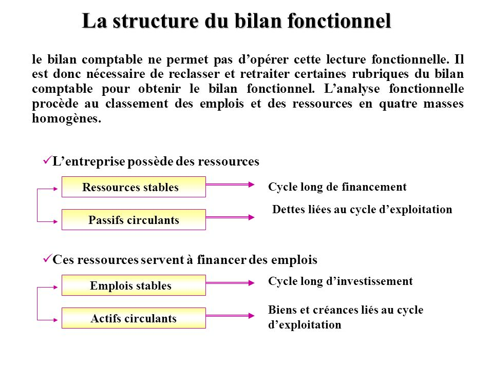 La structure du bilan fonctionnel