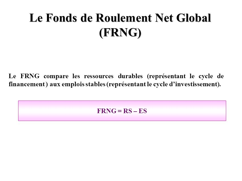 Le Fonds de Roulement Net Global (FRNG)