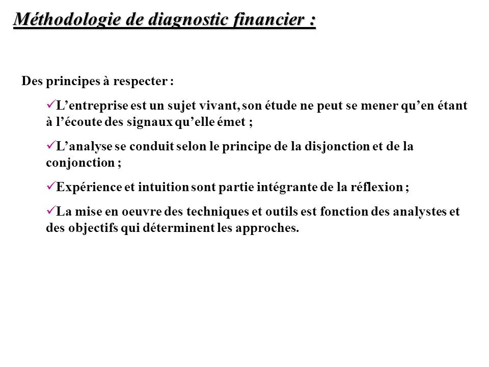 Méthodologie de diagnostic financier :