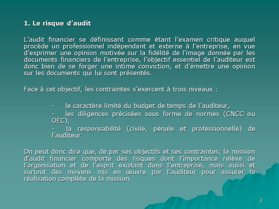 1. Le risque d'audit