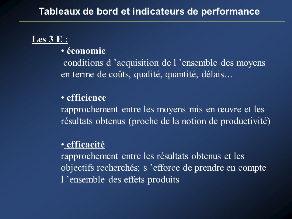 Tableaux de bord et indicateurs de performance