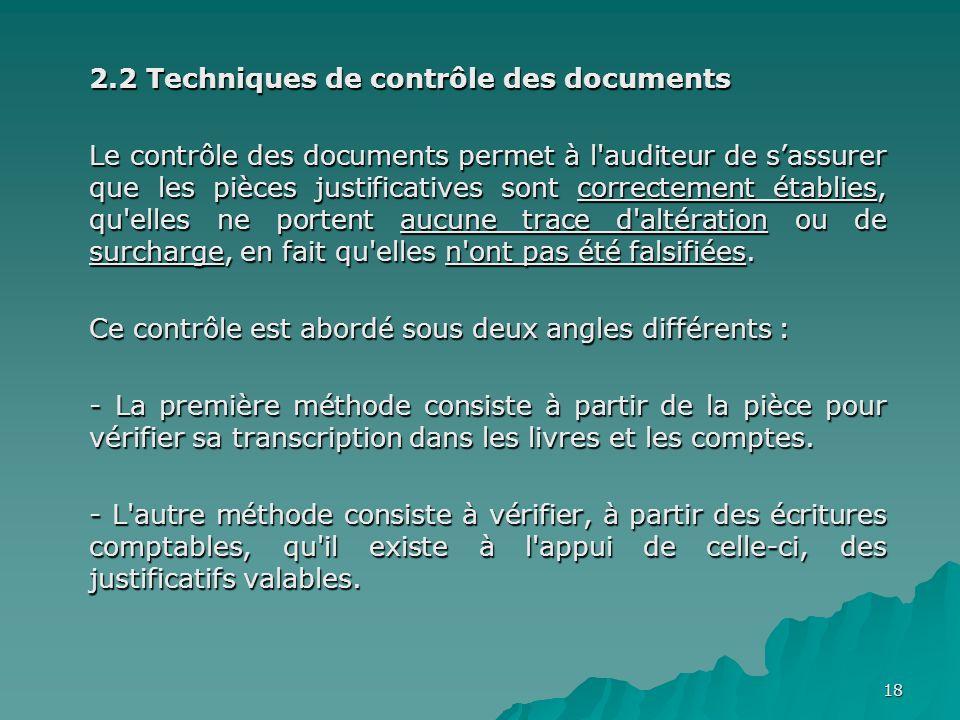 2.2 Techniques de contrôle des documents
