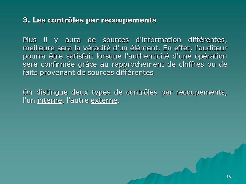 3. Les contrôles par recoupements