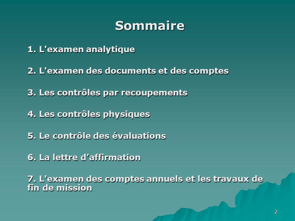 Sommaire 1. L examen analytique