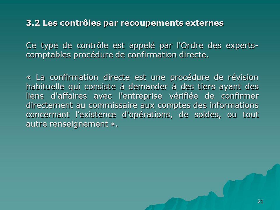 3.2 Les contrôles par recoupements externes