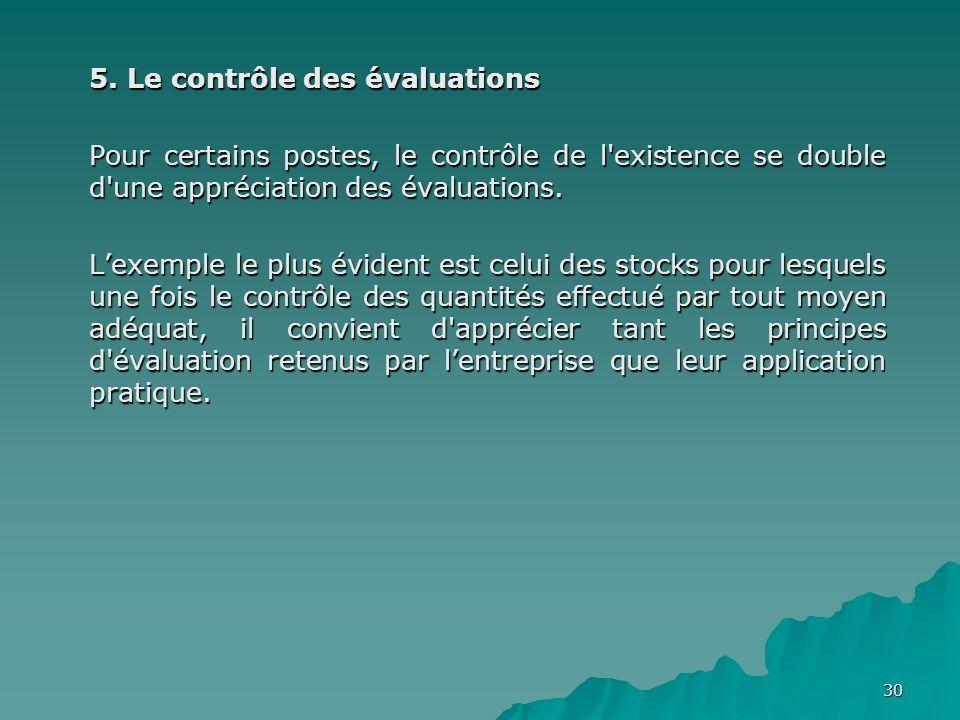 5. Le contrôle des évaluations