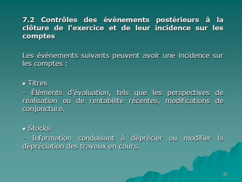 7.2 Contrôles des événements postérieurs à la clôture de l exercice et de leur incidence sur les comptes
