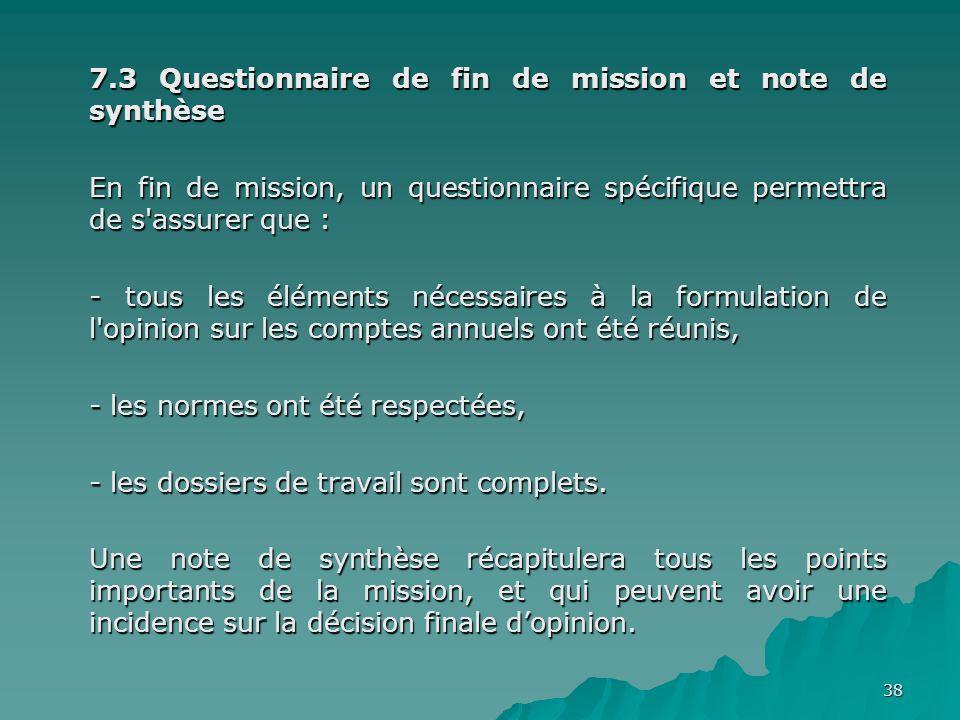 7.3 Questionnaire de fin de mission et note de synthèse